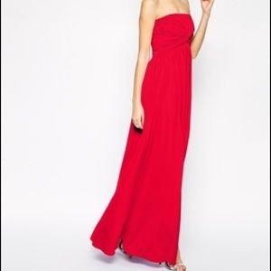 ASOS Slinky Red Twist Bandeau Strapless Maxi Dress